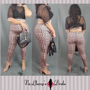 Pink Geometric Club Pant Set